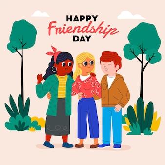 Cartoon dia del amigo - 20 de julio illustration