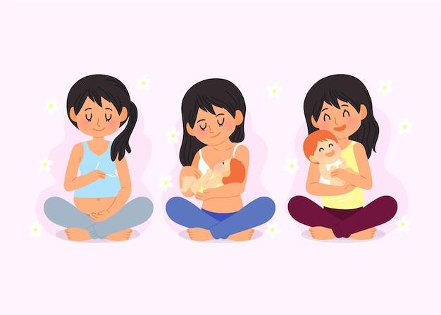 Cartoon dia internacional de la położnictwo y la embarazada ilustracja