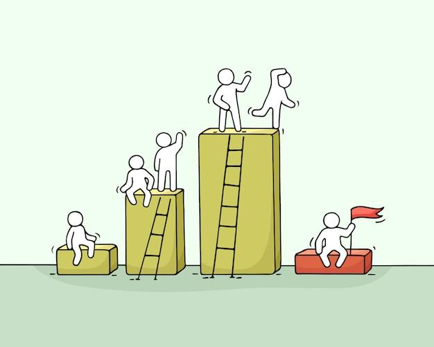 Cartoon diagramm z pracującymi małymi ludźmi.