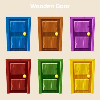 Cartoon drewniane kolorowe drzwi