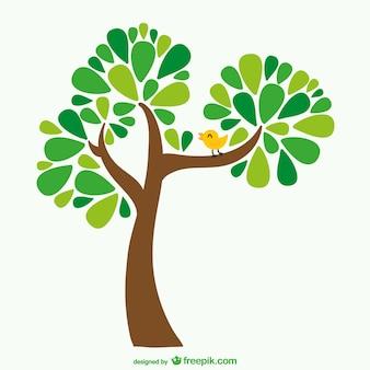 Cartoon drzewa i ptak