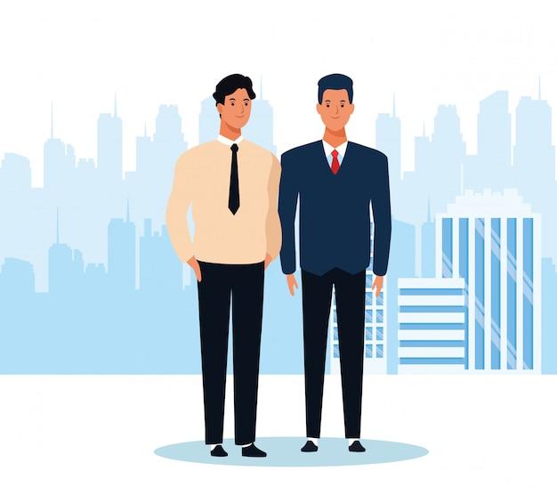 Cartoon dwóch mężczyzn stojących