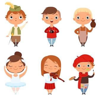 Cartoon dzieci chłopców i dziewcząt z różnych zawodów twórczych