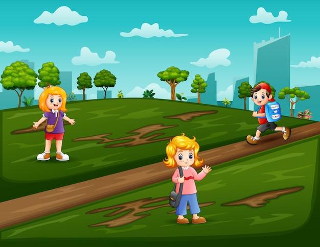 Cartoon dzieci idące do szkoły