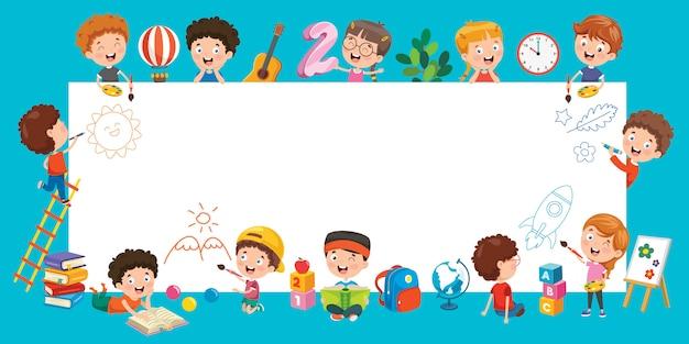 Cartoon dzieci z ramą