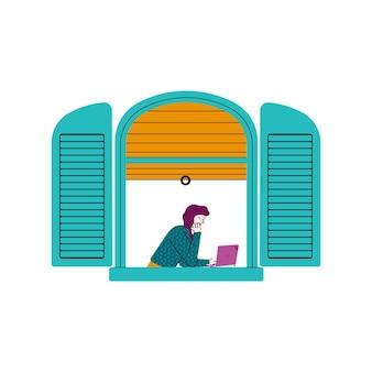 Cartoon dziewczyna z laptopem w otwartej niebieskiej ramie okna widziana z zewnątrz