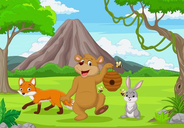 Cartoon dzikich zwierząt w lesie