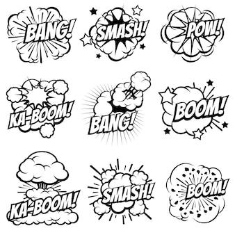 Cartoon eksploduje ikony, komiksowe bąbelki eksplozji, wielki wybuch pop-artu i chmury dymu bum