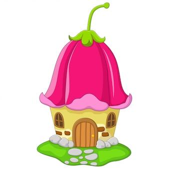 Cartoon fairy house with a pink bellflower