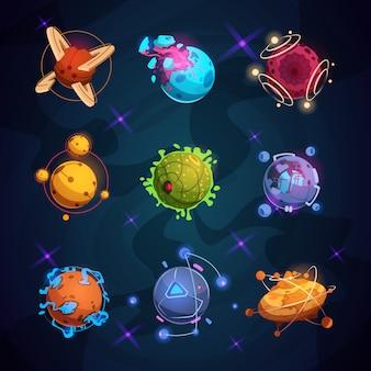 Cartoon fantastyczne planety. fantasy obce planety obiekty do gry kosmicznej