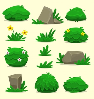 Cartoon fantazyjne izolowane krzak rocka szablon trawy zestaw