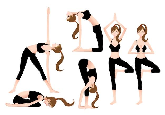 Cartoon female yoga trainer umożliwia samodzielne granie w jogę.