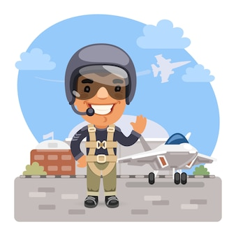 Cartoon fighter pilot