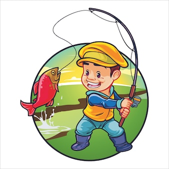 Cartoon fishing kid