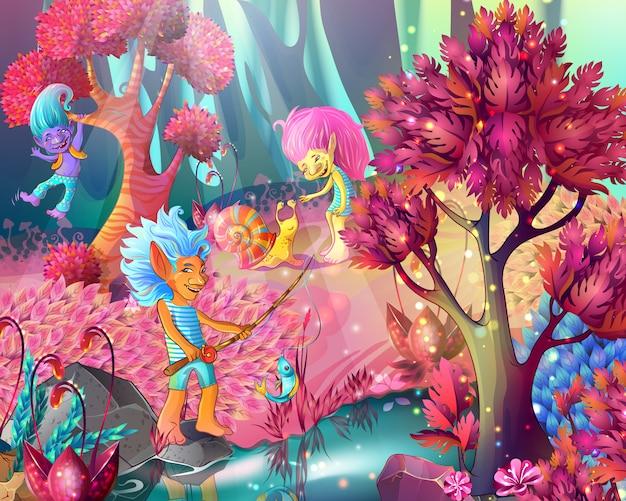 Cartoon game design magic ilustracji