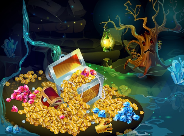 Cartoon game treasure and trophies