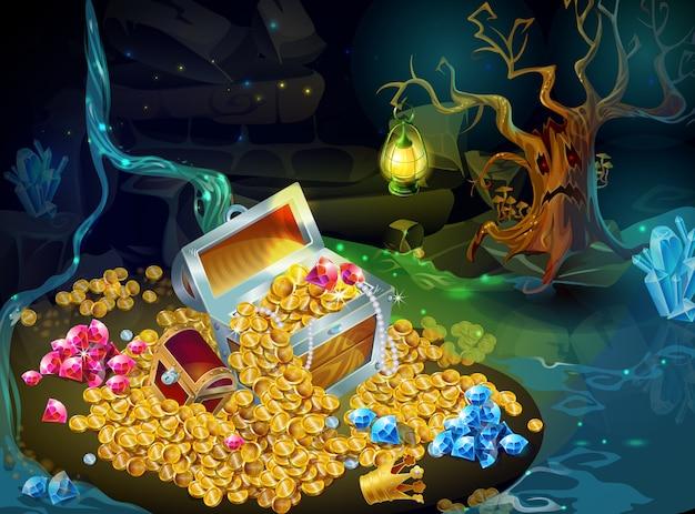 Cartoon game treasure and trophies