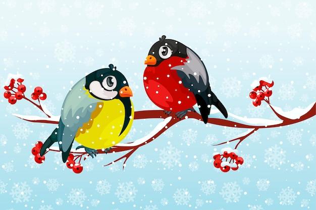 Cartoon gil i ptak sikora na gałęzi rowan tree pod opadami śniegu.