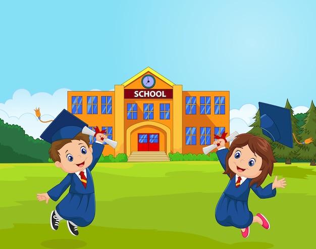 Cartoon graduation celebration ze szkołą
