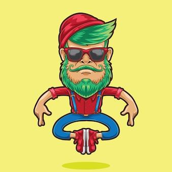 Cartoon hipster man