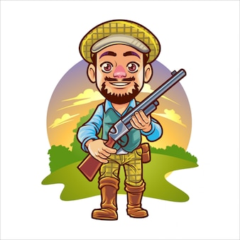 Cartoon hunting man