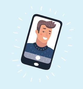 Cartoon illusration młodego człowieka stoi na wyświetlaczu smartfona na izolowanym tle