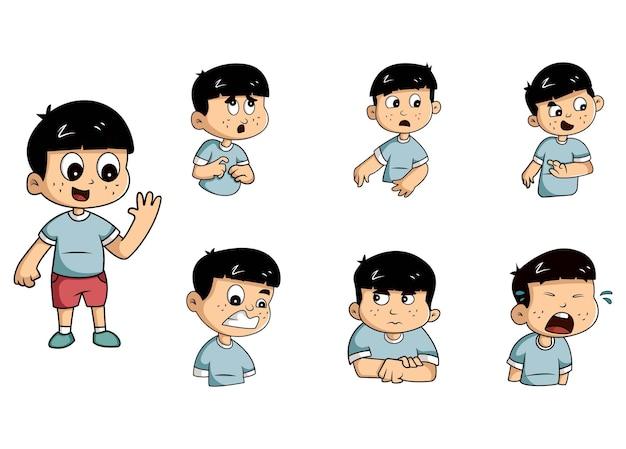 Cartoon ilustracja chłopiec zestaw naklejek