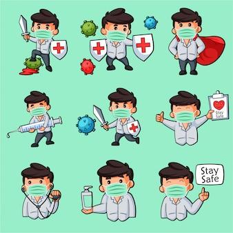 Cartoon ilustracja zestaw naklejki doktora