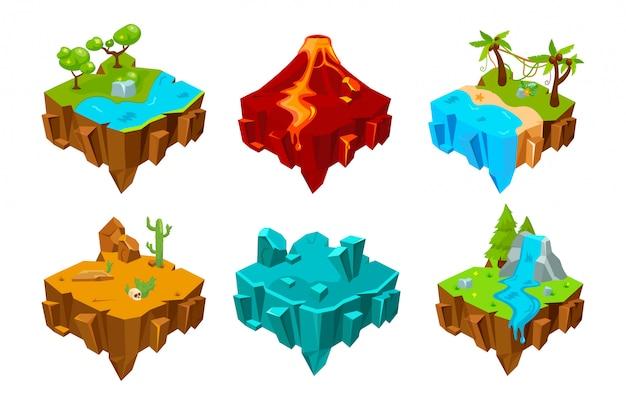 Cartoon izometryczne platformy wyspowe do gry.