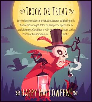 Cartoon kapelusznik czaszki szkielet z lampą na tle nieba w pełni księżyca szczęśliwy plakat halloween cukierek albo psikus ilustracja karty z pozdrowieniami