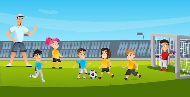 Cartoon kid zagraj w sędziego futbolowego, dmuchając w gwizdek