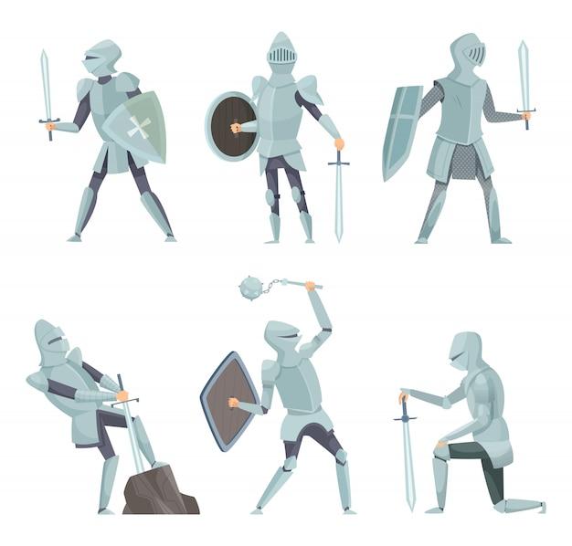 Cartoon knights. średniowieczny wojownik na koniu wektor postaci z kreskówek w pozach akcji