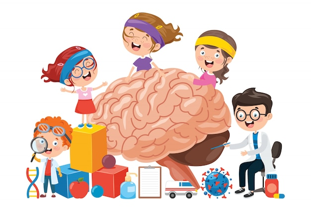 Cartoon koncepcja ludzkiego mózgu