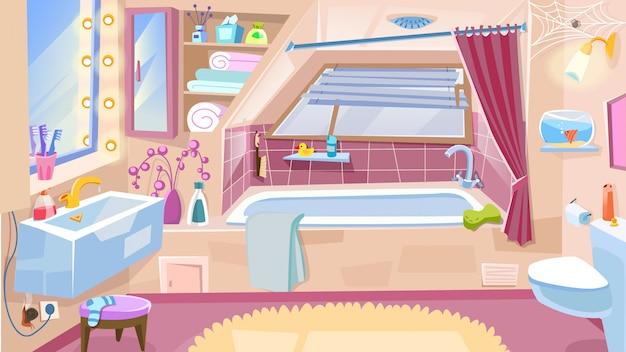 Cartoon łazienka, wnętrze łazienki z wanną, kran umywalka, lustro.