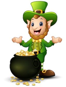 Cartoon leprechaun z puli złotych monet