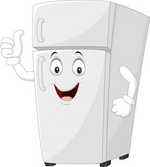 Cartoon lodówka maskotka podając kciuki do góry
