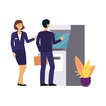 Cartoon ludzi w bankomacie banku - konsultant bankowy i klient biznesmen stojący przy terminalu pieniędzy. ilustracja na białym tle płaski wektor.