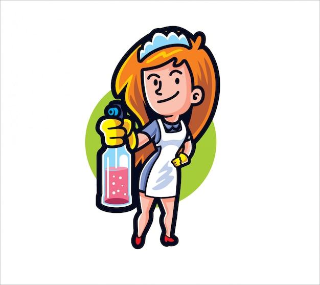 Cartoon maid with cleaner spray