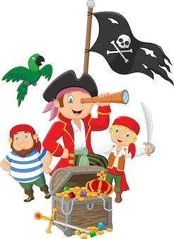 Cartoon małe dzieci uwięzione w obszarze wyspy skarbów