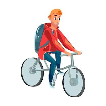 Cartoon man ride bicycle male bicyclist cycling