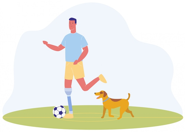 Cartoon man with prothetic leg zagraj w football dog