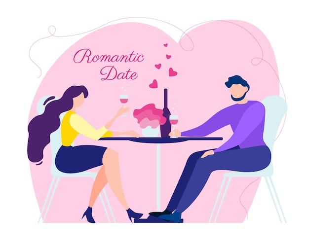 Cartoon man woman romantic date love relationship