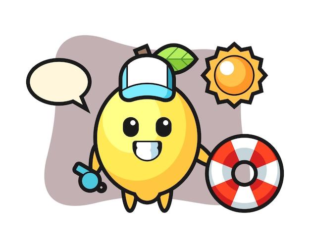 Cartoon maskotka cytryny jako strażnik na plaży
