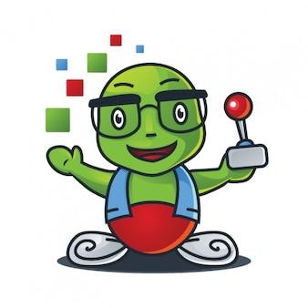 Cartoon maskotka z kontrolera gier