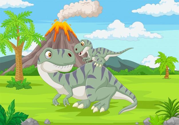 Cartoon matka i dziecko dinozaurów w dżungli