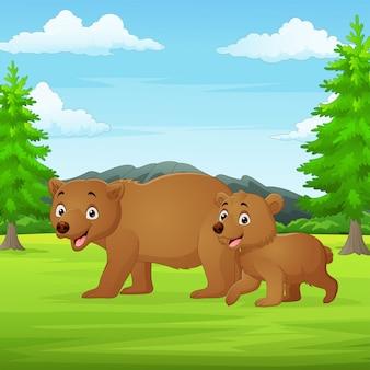 Cartoon matka i dziecko niedźwiedź w dżungli