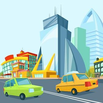 Cartoon miejski krajobraz z nowoczesnymi budynkami