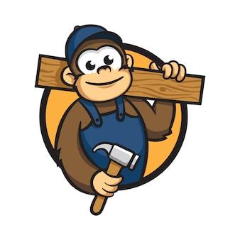 Cartoon monkey wood worker