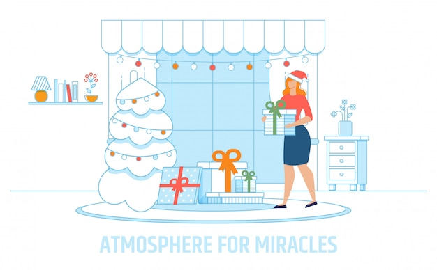 Cartoon mother creating atmosphere for miracles