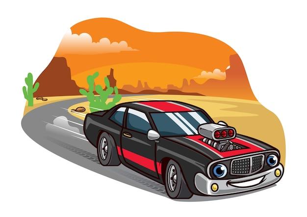 Cartoon muscle car jeździć szybko na drodze